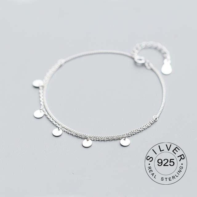 100% echt. 925 Sterling silber Edlen Schmuck Multi-Schichten Poliert Runde Münze Kette Armband frauen