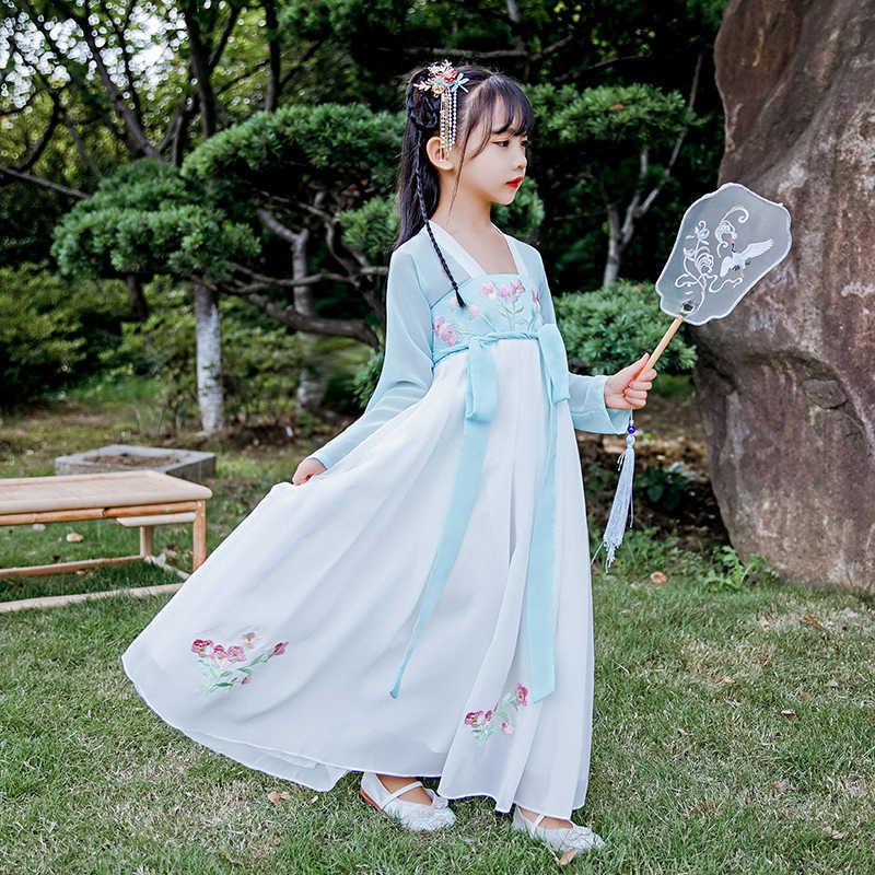 Hanfu الفتيات ، زي القديمة ، فستان صيفي ، النمط الصيني رقيقة ، التطريز الجنية ، الملابس الداخلية ، فتاة صغيرة