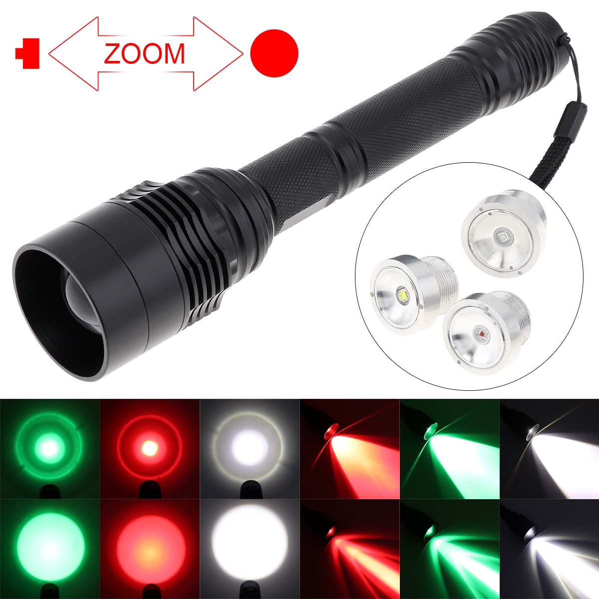 tactical torch q5 r5 led 600lm light 802 flashlight white red green blue light for outdoor camping hunting SecurityIng Portable Flashlight LED Torch White/Red/Green Light Color C11 48MM Lens 300-1300 LM  for Hunting / Outdoor Camping
