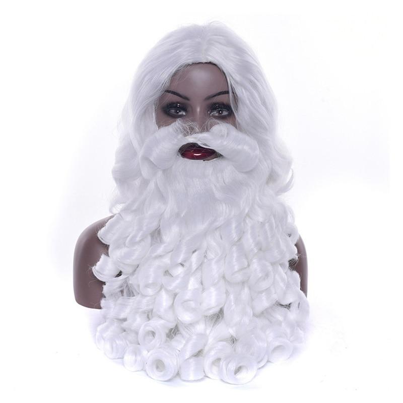 Santa Claus 60cm Long Wavy Wig White Santa Claus Beard Set Fancy High Temperature Fiber Cosplay Wig Christmas Gifts