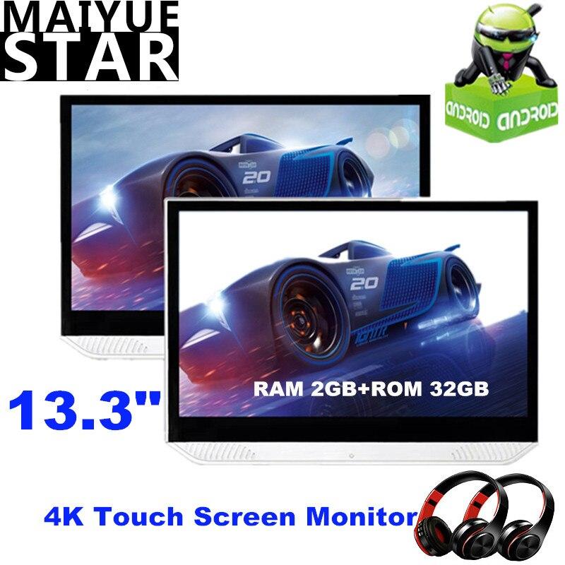 13,3 pulgadas Android 9,0 reposacabezas monitor 4K 1080P pantalla táctil HDMI coche reproductor de TV WIFI/Bluetooth/USB/SD/FM/Miracast/enlace espejo