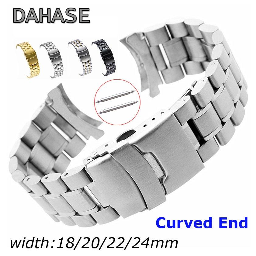 Edelstahl Uhr Band 18mm 20mm 22mm 24mm Strap-Armband Curved End Uhr Gurt Doppel Lock schnalle Ersatz Handgelenk Gürtel