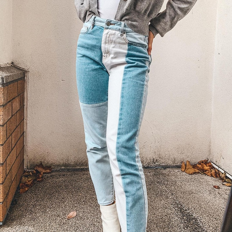 Women Jeans Patchwork High Waist Indie Style 90s Long Trousers Vintage Fashion Grunge Pants Autumn Summer Streetwear Harajuku