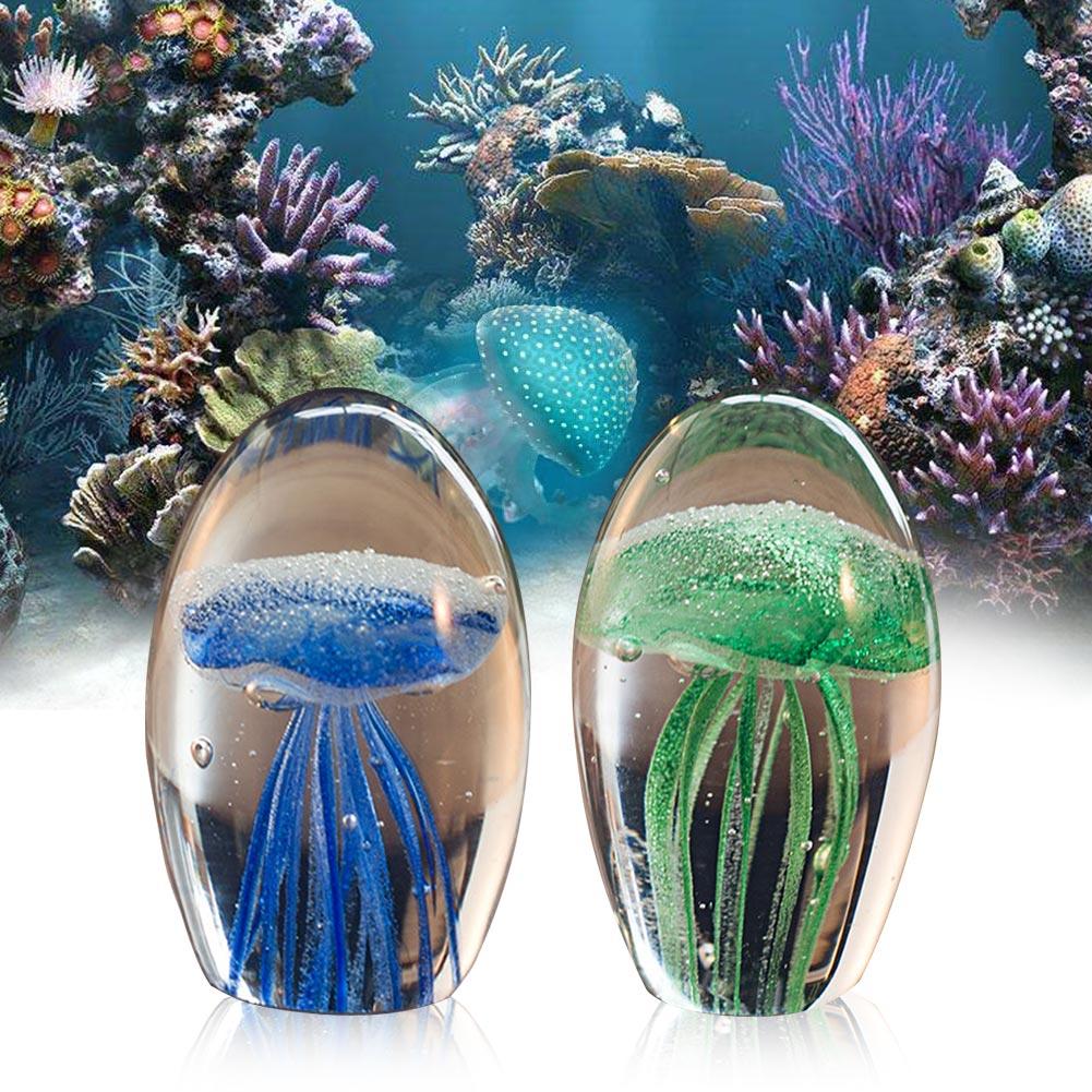 Подарок для аквариума ручной работы, стеклянные медузы, статуэтки для домашнего декора, Имитационные украшения, устойчивая подошва, настол...
