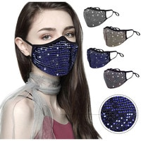 1pc Halloween Masquerade Rhinestone Crystals Mask for Women Reusable Dustproof Christmas Party Wedding Easter Back To School