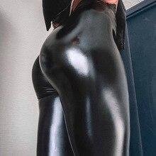 QianZhuoMa Sexy pousser jusquà Leggings fins pour les femmes noir lumière mat mince et épais Femme Fitness Faux Leggings taille haute en cuir pantalon