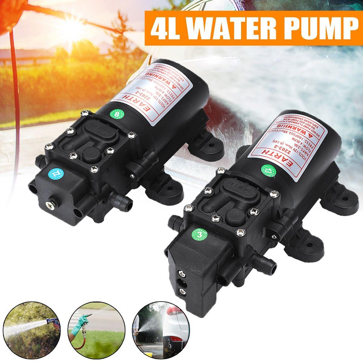 Dc 12 v micro elétrica refluxo diafragma bomba de água inteligente interruptor automático 6l/min alta pressão lavagem do carro spray bomba de água