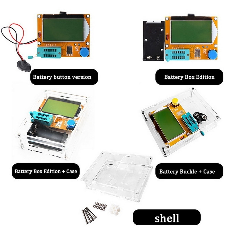 ESR Meter Mega328 Transistor Tester Digital V2.68 ESR-T4 Diode Triode Capacitance LCR 12864 LCD Screen Tester