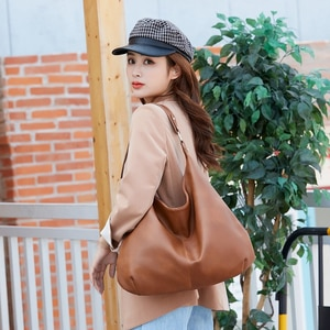 Casual Retro Large Capacity Tote Bags For Women Solid Colour PU Leather Shoulder Bags Female Top-handle Handbags Luxury Designer