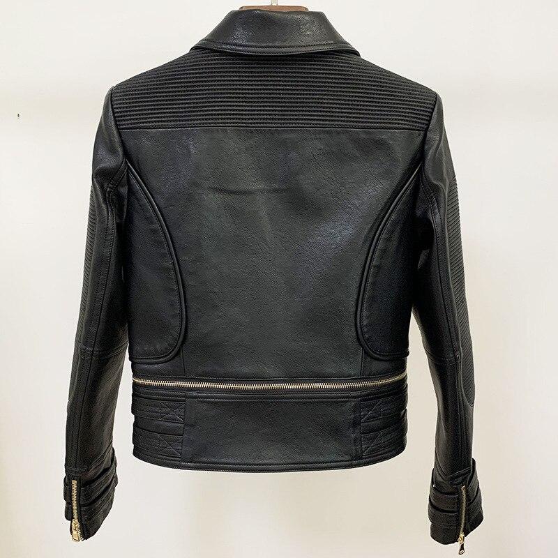New Autumn Women Short Faux Leather Jacket Pu Motorcycle Biker Coat Turndown Collar Streetwear Black Punk Outerwear enlarge