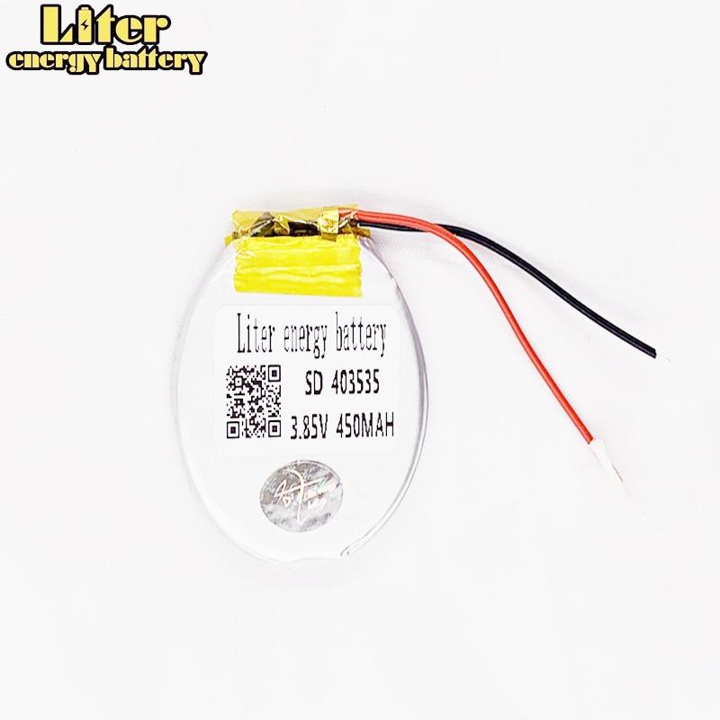 R40350 403535 3.85V / 4.4v 1.67wh 450mAh Rechargeable li Polymer Round battery For Smart watch Li-PO battery