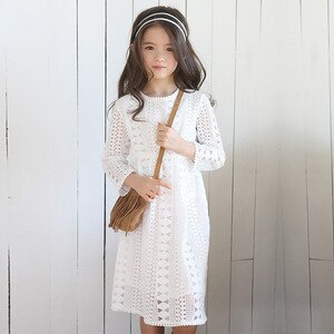 4 To 16 Years, Girls Lace Dress New Children Summer Dress Teen Clothes Kids Dresses for Girls with Cotton Lining Fashion,#6191