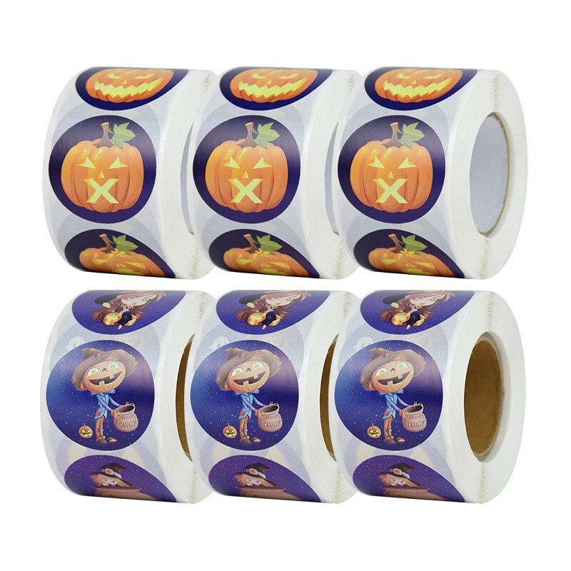 Pegatinas de Halloween de bruja de calabaza, paquete de regalo redondo de...