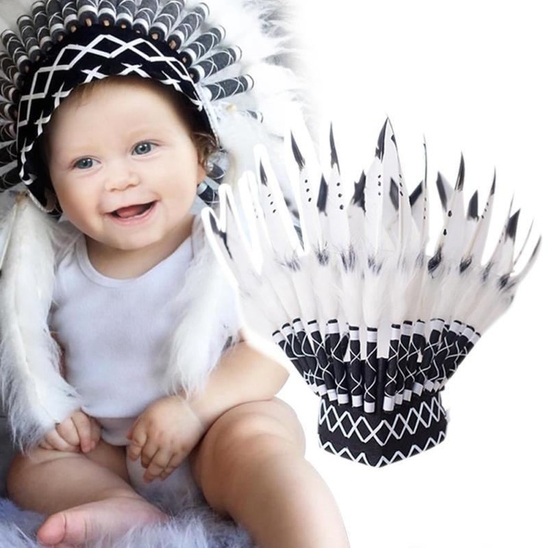 Ins Style Indian Feather Headdress Party Decoration Photo Props Entertainment Venue  Newborn Indian Photography Creative Theme
