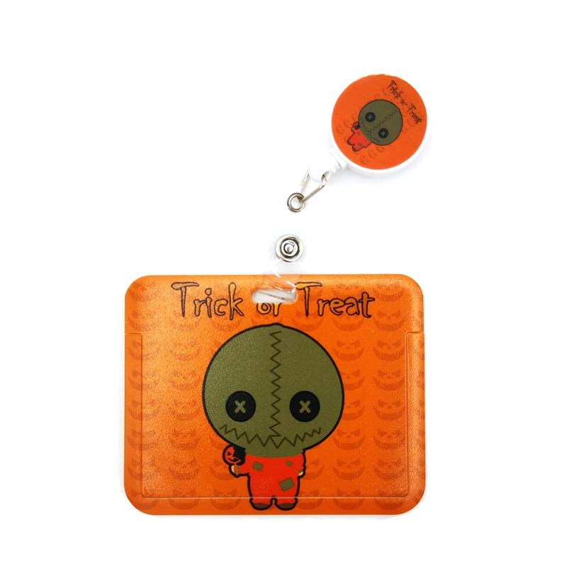 Halloween Trick R Treat Card Holder Women Men Business Lanyard Badge Card Case Women Card Lanyard ID