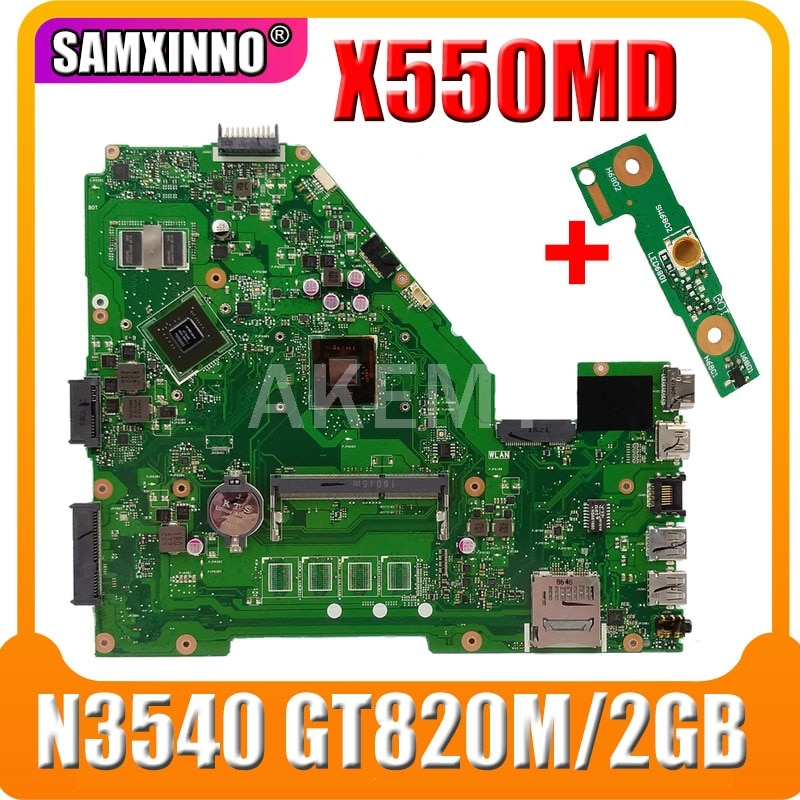 Akmey-placa base X550MD para For Asus X550MJ, placa base para portátil X550M X550MD X552M, placa madre del cuaderno, 100% probada, N3540 GT820M/2GB