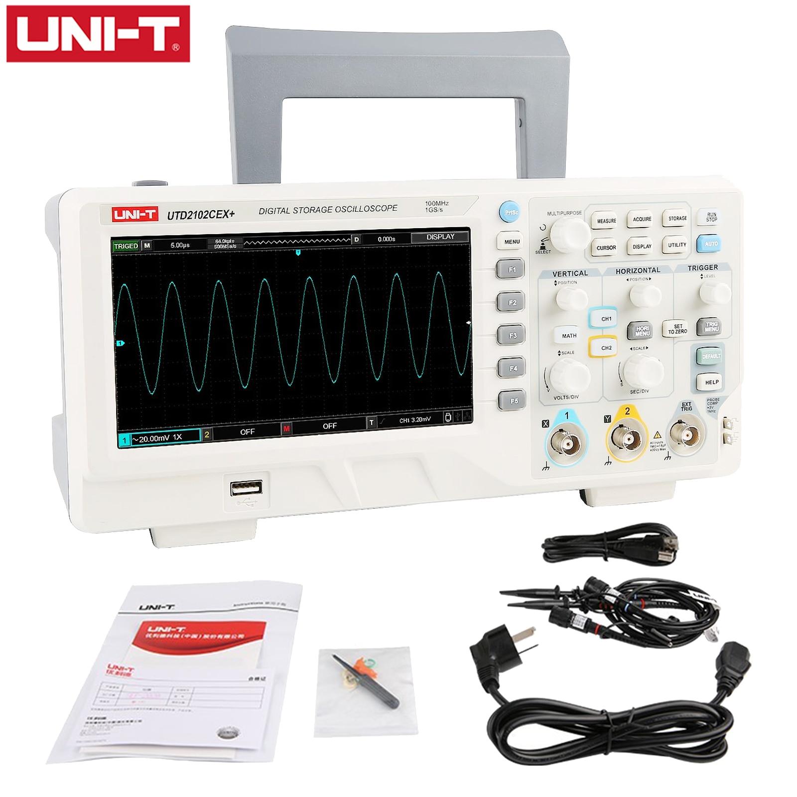 Цифровой осциллограф UNI-T, двухканальный генератор входного сигнала, настольный осциллограф с частотой дискретизации 1 Гвыб/с, WCGA(800*480)UTD2102CEX