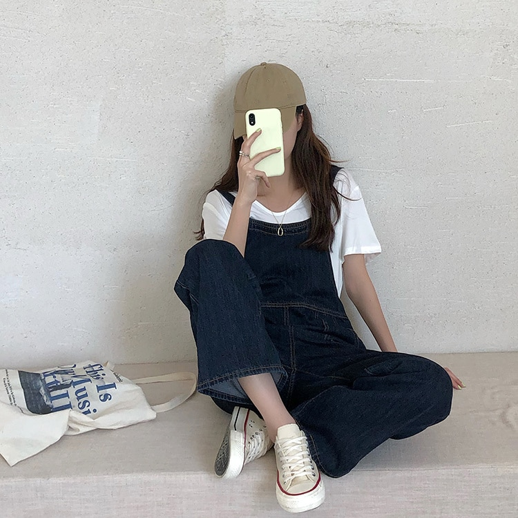 Denim Suspenders Women's Loose Straight One-piece Pants 2021 New Spring Autumn Age Reduced Wide Leg