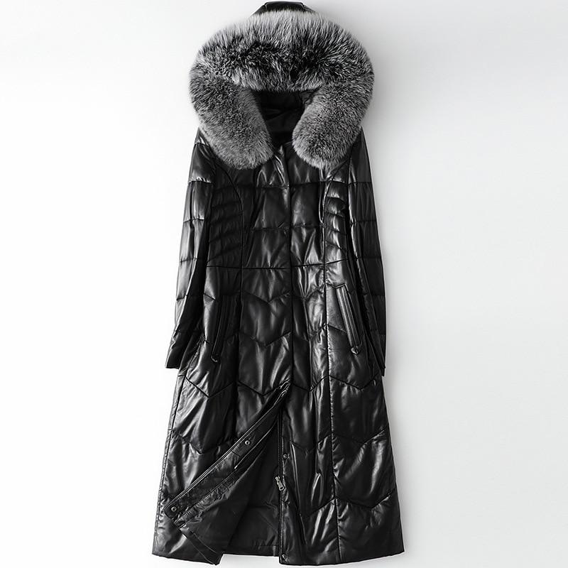 Winter Fashion 2020 Fox Fur Collar Hooded Sheepskin Leather Down Jacket Women's Long Genuine Leather Coat Thick Warm Outwear