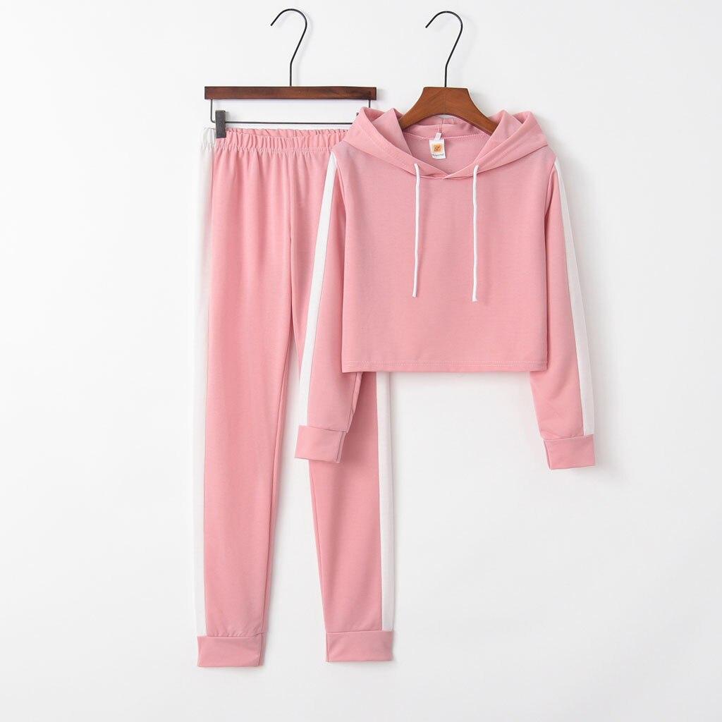 Sudadera con capucha y pantalón de manga larga para mujer, traje deportivo...