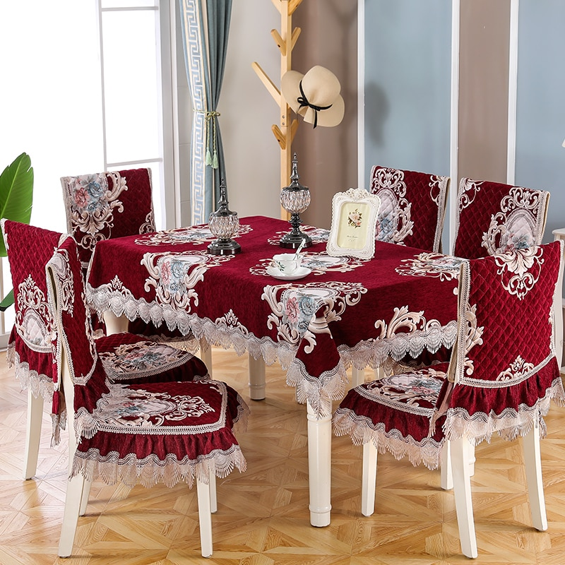 غطاء مقعد 2021 جديد الدانتيل التطريز جودة الشنيل الطعام مخدة كرسي غطاء طاولة القهوة مربع الجدول/مفرش طاولة مستديرة