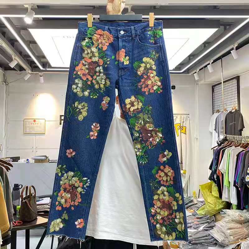 Hip Hop Flower Graffiti Print Vintage Washed Do Old Jeans Men Women Casual 1:1 High Quality High Waist Summer Straight trousers