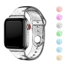 Soft Silicone Bands for Apple Watch Strap 44mm40mm42mm38mm Glitter Women Sports Wristband for iWatch 6/5/4/3/2/1/SE Accessories
