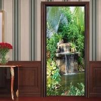 adhesive garden poster door sticker beautiful landscape stickers for door kids wallpaper home decor waterproof decal