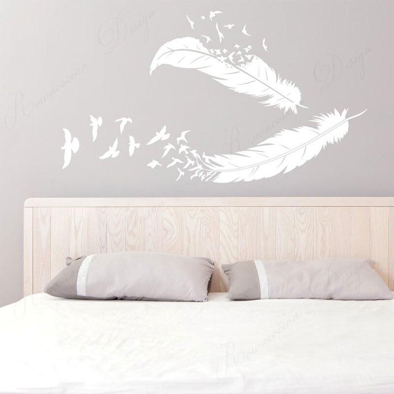 Desaparecendo penas e pássaros vinil decoração da sua casa adesivo de parede quarto decoração decalques murais removíveis poster 4383