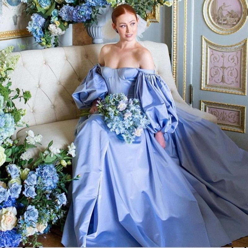 Elegant Women Blue Long Evening Dresses Puff Long Sleeve Prom Dress 2021 Robe de Soriee Satin Formal Evening Party Gowns Couture