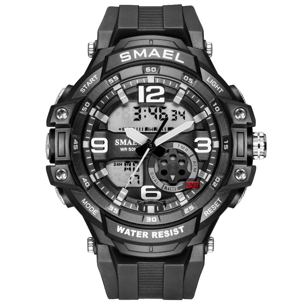 Smael Sports Men's Watches 2020 Top Brand Luxury Black Male Quartz Wrist Watches Waterproof Military Quartz Chronograph Clock