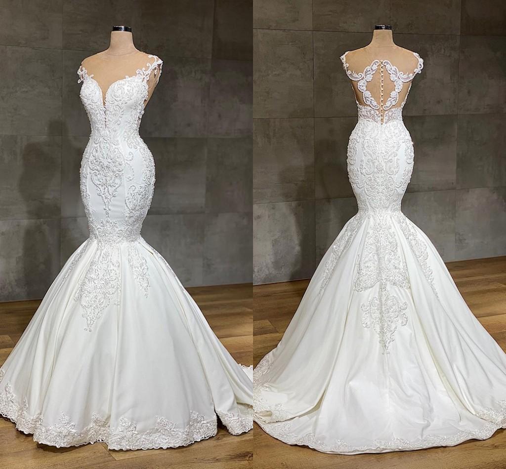 2020 vestidos de novia de encaje sirena de lujo cuello joya completo encaje apliques de cristal largo Catedral tren boda vestidos de novia