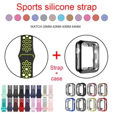 Bracelet en Silicone + coque souple, 38mm 40mm 42mm 44mm étui adapté à la série Apple Watch 5/4/3/2/1 bracelets de sport bracelet iwatch