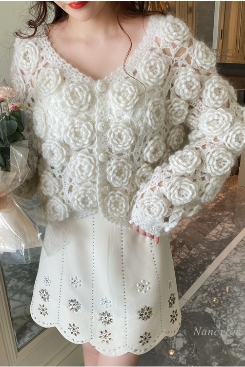 New Mohair Sweater Coat Women's Handmade Three-Dimensional Rose Flower Heavy-Duty Knitted Cardigan Lady Chic Top 2021 Spring enlarge