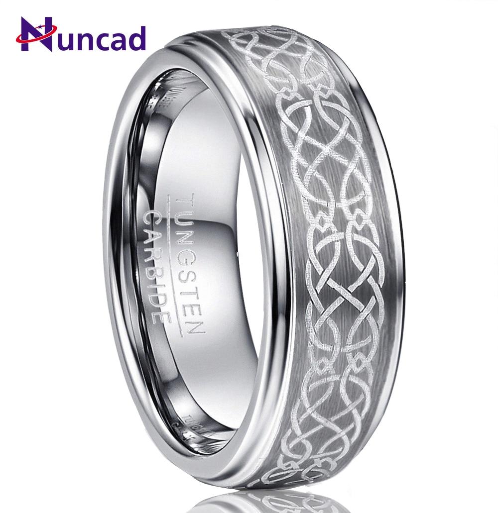 Кольцо Nuncad мужское, 8 мм, с лазерным покрытием, персонализированные, с узлом, матовый, вольфрамовый твердосплавный, для свадьбы, с полировкой, шаг, комфортный, размер 6-14