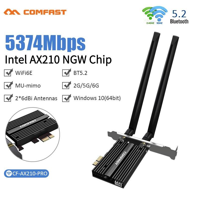 واي فاي 6E إنتل AX210 ثنائي النطاق PCIe اللاسلكية واي فاي محول الشبكة 2.4G/5G/6Ghz 2400M بطاقة واي فاي بلوتوث 5.2 PCI Express Wlan
