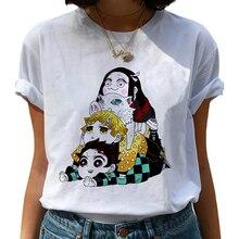 Funny Japanese Anime Kimetsu No Yaiba Demon Slayer female t shirt Graphic Top Tees Tshirt Streetwear Punk T-shirt Clothes Women