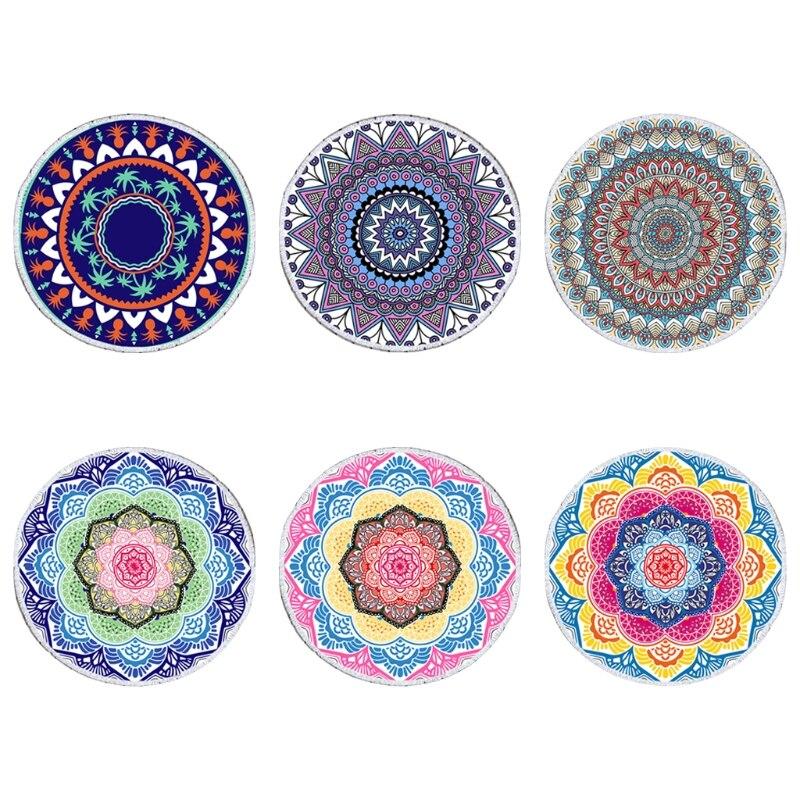 Manta de toalla de playa redonda E8BD, tapiz con estampado Floral de Mandala Hippie Vintage bohemio, mantel de círculos esterilla de Yoga grande