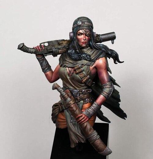 Busto de figura de resina en miniatura de guerrero antiguo de 1/12 para mujer, kits de gk en miniatura sin montar