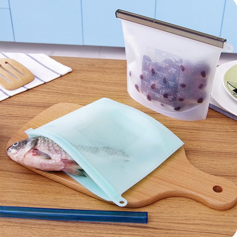 4Size 500ml /1500ml Silicone Bag Fresh Sealed Bags Reusable Food Storage Refrigerator