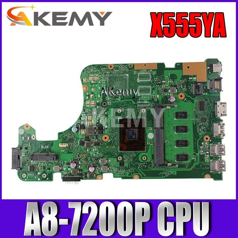 Akemy X555YA X555DA اللوحة لابتوب For Asus X555D A555D X555DG X555YA X555Y X555DA K555D اللوحة A8-7200P 4GB