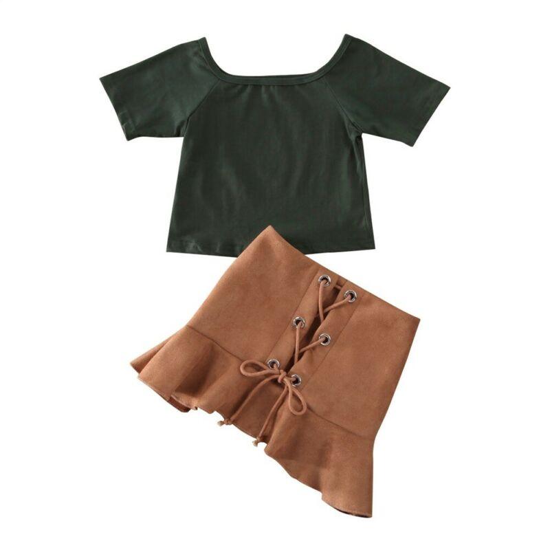 Recém-nascido da criança do miúdo roupas da menina do bebê topos camiseta vestido saia outfit 2 pces 1-6y