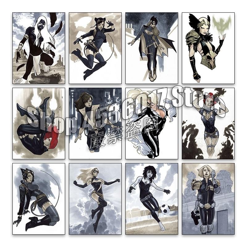 Pintura de diamantes 5d Diy, punto de cruz, bordado de diamantes, mosaico de viuda negra y Catwoman, lienzo de regalo cuadrado completo de diamantes de imitación