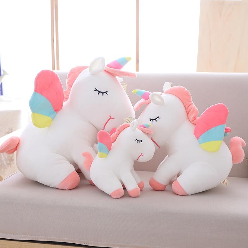 25 cm-75 cm adorable unicornio de peluche de juguete caballo volador rosa con alas de arcoíris bebé niños apaciguar cumpleaños muñeca REGALO PARA niña pequeña