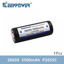 1 pièces dorigine KeepPower 26650 5500mAh li-ion protégé rechargeable 3.7V batterie P2655C livraison directe