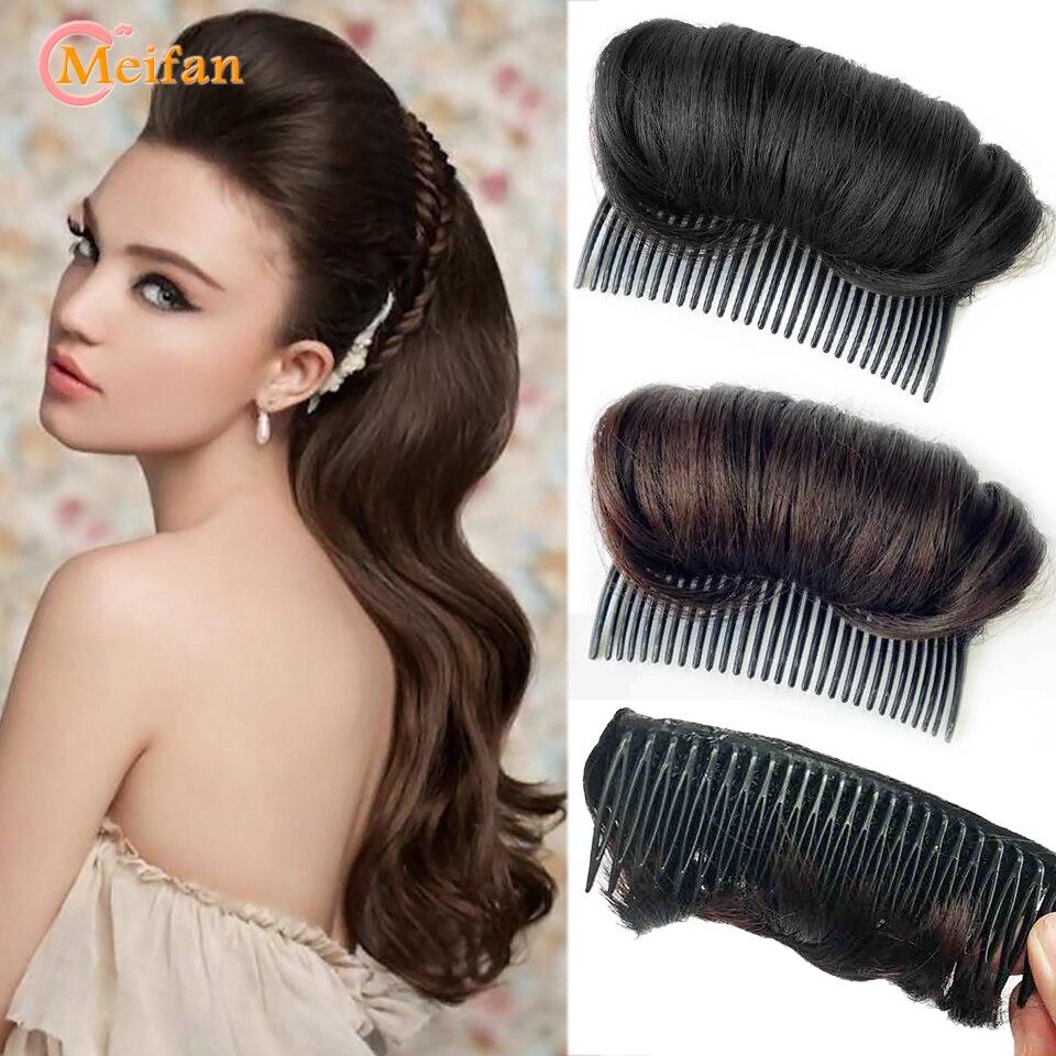 Meifan preto marrom fluffer de cabelo com pentes de cabelo feminino pentes de cabelo enfeites fabricante de pão trança diy ferramenta acessórios para o cabelo