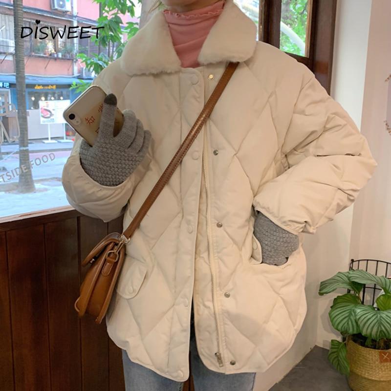 College Wind Fur Collar Loose Cotton Clothing Woman Simple Long Sleeve Warm Winter Jacket Ladies Solid Slim Ladies Coat Women