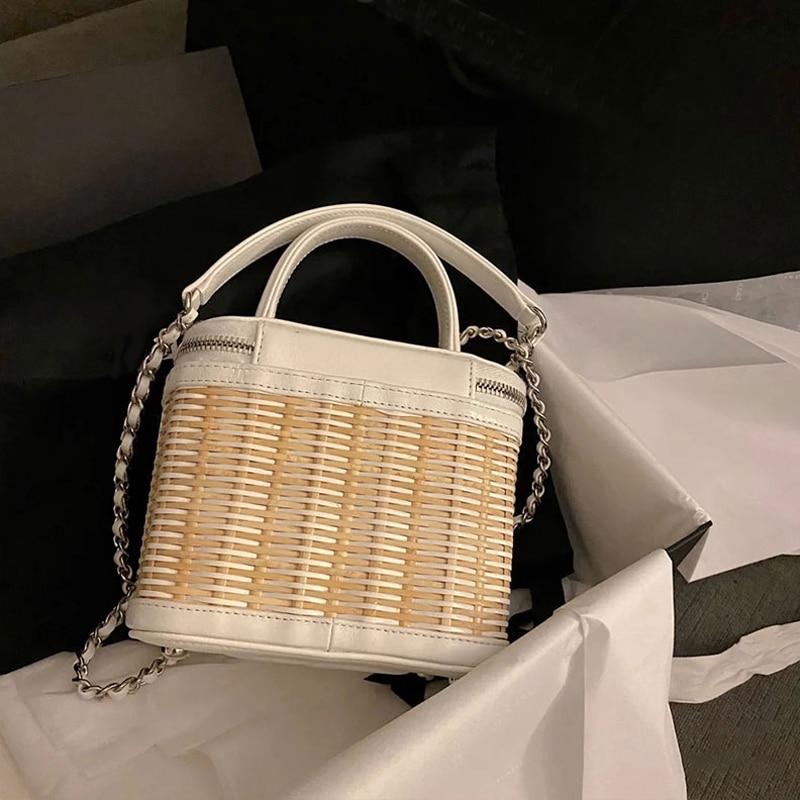 fashion box wicker women handbags designer rattan woven shoulder bags luxury chains crossbody bag summer beach bali straw purses