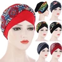 1pc head cover cancer cap cotton headband caps knotted print beanies headwraps muslim turban scarf head women