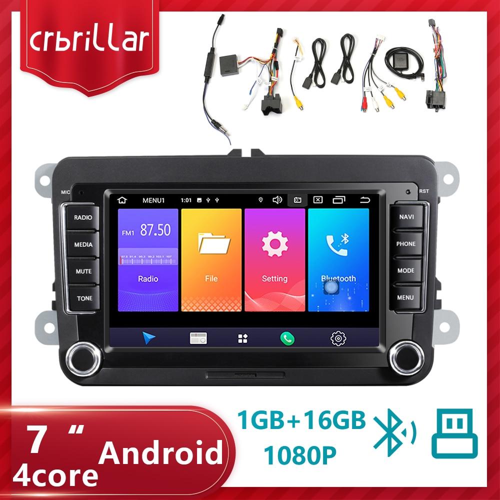 Crbrillar 2Din Android Car Radio GPS 2din coche reproductor Multimedia Autoradio para VW/Volkswagen/Golf/Passat/asiento/Skoda/Polo ESTÉREO